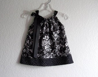Baby Girls Black and White Damask Pillowcase Dress -  Black and White Sun Dress and Bloomers Outfit - Size Newborn, 3m, 6m, 9m,12m or 18m