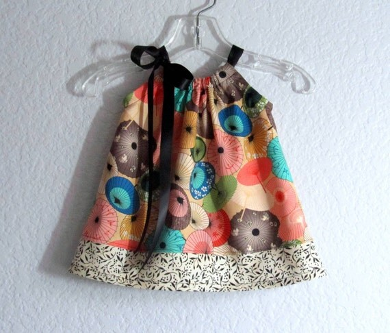 Baby Girls Pillowcase Dress - Paper Umbrellas - Swing Dress and Bloomers Outfit - Size  Newborn, 3m, 6m, 9m, 12m or 18m