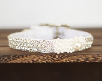 Gorgeous rhinestone and pearl collar for wedding, party, ring bearer, girl dog and cat, Pet Wedding Accessory, Dog Lovers