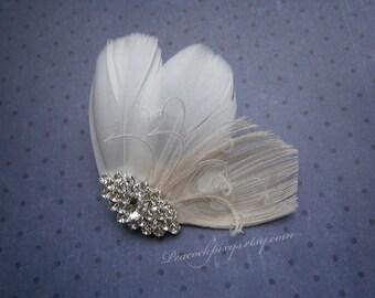 Wedding, Hair, Accessories, Peacock, Feather, Facinator, off, white, weddings, clip, Ivory, Peacock, Bridal, Bride - PETITE White PRINCESS