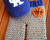Newborn University of Kentucky Wildcats basketball baby cap and pants set