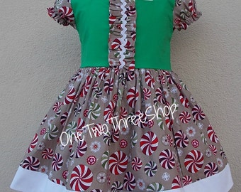 Custom Boutique Clothing  Peppermint  Christmas Sassy Girl Dress