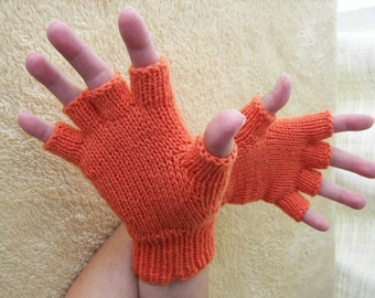 CORAL Hand Knit Half Finger GLOVES in MERINO Wool