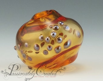 Large Freeform Organic Hollow Amber Bead with Silvered Accents