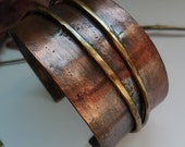 Copper Wide Cuff Bracelet Textured Band and Two Brass Wires, Copper Cuff, Metal Work, Original Copper Cuff, Artisan Crafted, Bracelet