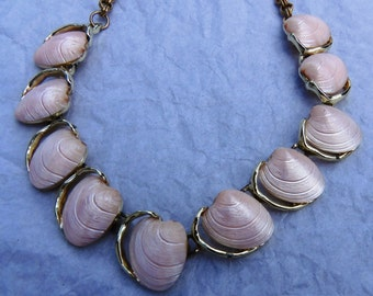 Pink shell thermoset necklace
