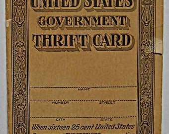 Vintage 1923 US Government Thrift Card with One Stamp
