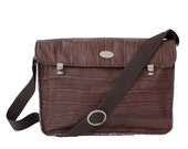 Large Chocolate Brown Genuine Leather Satchel. Cross Body Messenger Bag. Croc Embossed Leather Handbag. XL Miss Betty Satchel. FREE SHIPPING