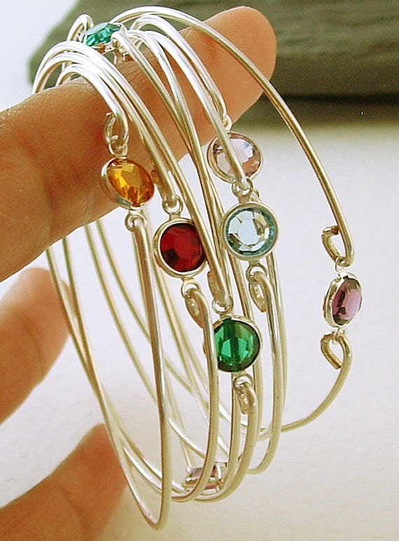 Birthstone Bracelets Stacking Silver Bangle Bracelets Gemstone Bangle Bracelet, Bridesmaids Gift, Gemstones jewelry, Ask Questions