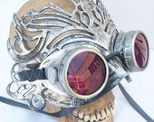 STEAMPUNK MASK - Silver Pewter '50 Shades of Grey' Inspired Distressed-Look Elegant Glam Ballroom Masquerade Mask & Goggles Set Combination