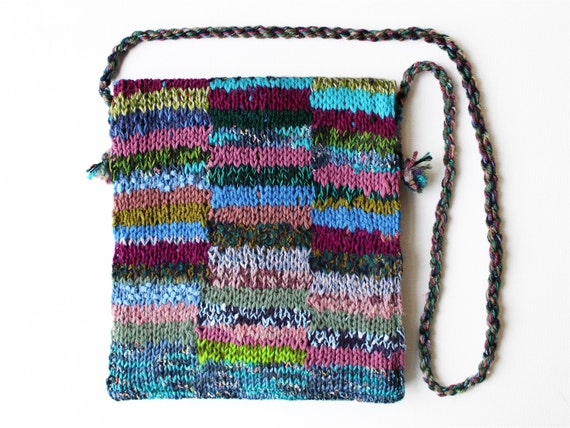 Heather Eco Handbag - Purple knitted bag made from up-cycled yarns