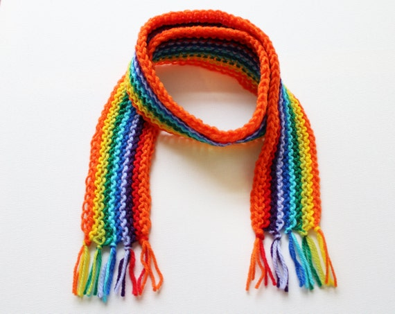 Orange Rainbow Pixie Scarf - Rainbow Child's Scarf - Knitted Classic Scarves for Kids