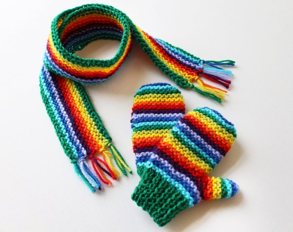 Green Rainbow Pixie Set of Gloves and Matching Scarf - Rainbow Children's Mittens and Scarf Outfit