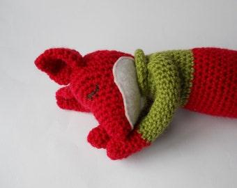 crocheted sleeping fox, Amigurumi animal doll, nursery decoration