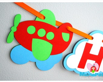 Plane Party Pack, Plane transportation party set , Banner, cupcake toppers, centerpiece and more  A1001