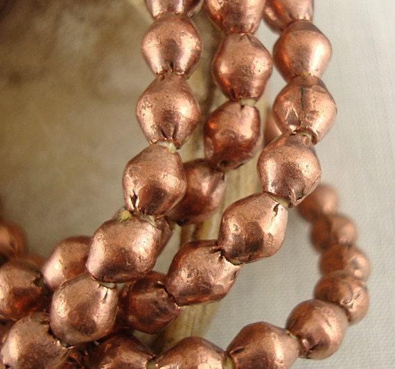 Copper Bead, Metal Bead, Spacer,  Rustic Bead, African Bead, 7mm - 20  Beads