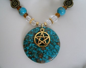 Turquoise Pentacle Necklace, wiccan jewelry pagan jewelry wicca jewelry goddess pentagram witchcraft metaphysical witch wiccan necklace