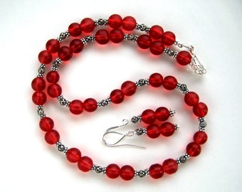 Cranberry Red Necklace Set Silver and Red Necklace Set (18.5 inches)