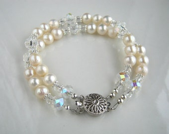 White Freshwater Pearl Bridal Bracelet White Pearl Wedding Bracelet Pearl Bridal Jewelry Pearl Bracelet
