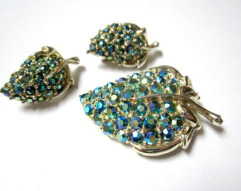 Blue Green Brooch Set Rhinestone Pin Earring Vintage Aurora Borealis