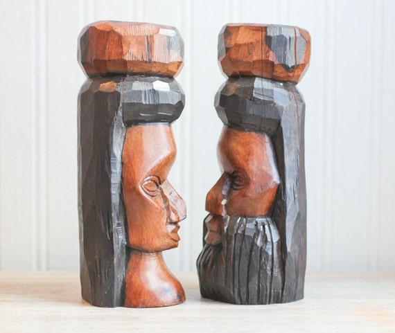 Jamaican Art Wood Carving Man And Woman Statue Folk Art