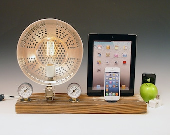 Double dock for mobile phone and tablet.. Table lamp with charging station . 596. Steampunk. Industrial. Recycled.