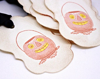 Halloween Gift Tags (Double Layered) - Primitive Pumpkin Treat Bag Tags - Primitive Halloween - Party Favors - Treat Bag Tags  (Set of 8)