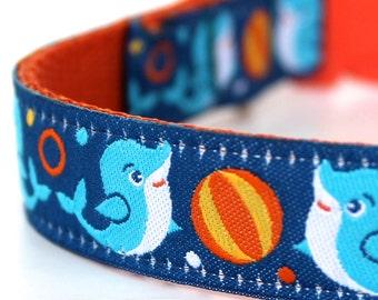 Dolphin Dog Collar, Ocean Pet Collar, Adjustable, Ribbon Collar, Fun Dog Collar