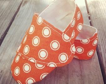 Orange Polka Dot Loafer Baby Shoes - Gender Neutral Baby Booties