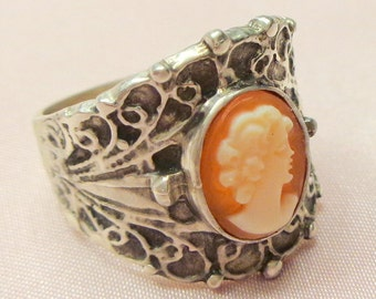 Hand Carved, Cameo Ring, Antique Cameo,Carved Conch Shell,Sterling Silver Ring, Mothers Day Gift