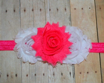 White and Shocking Pink Flower Girl Headband. Hot Pink and White Baby Headband. Flower Girl Hair Accessories, Baby Girls Hair Accessories