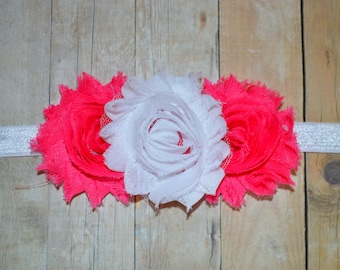 Shocking PInk and White Flower Headband. Pink Baby Headband. Flower Girl Hair Accessories. Baby Girls Hair Accessories. Baby Headbands. Pink