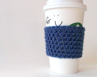 Crocheted coffee sleeve/cuff/cozy in teal blue