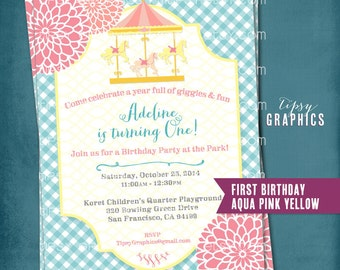Carousel Picnic. Gingham Mum Party Invitation.  Any text, occasion and colors by Tipsy Graphics