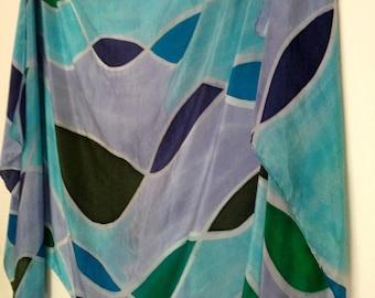 Blue Green Purple Silk Belly Dance Veil or Yardage