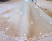 Burlap Christmas tree skirt with stars and buttons