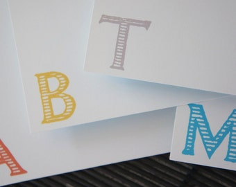 Monogram - Initials - Personalized Note Cards - Gift for Men - Typography - Set of 10