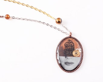 Oval Half Face Steampunk Necklace