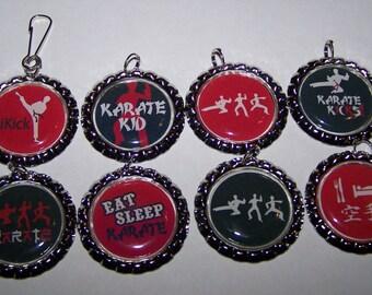 Boys Party Favors / Boys Karate Party Favors / Karate Bottle Cap Zipper Pulls or Necklaces