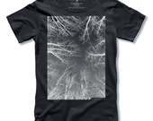 THE FOREST Tree T-shirt + EXPRESS Postage Screen Print on Black Mens T-shirt size Small, Medium, Large, XLarge - Free Shipping