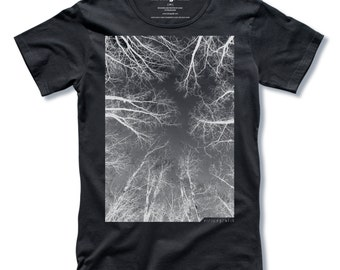 THE FOREST Tree T-shirt Screen Print on Black Mens T-shirt size Small, Medium, Large, XLarge - Free Shipping