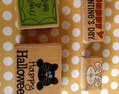 Birthday and Holiday rubber stamps: Halloween, Easter, and Valentine's Day New Year's Card making, Scrapbooking, Invitations, gift, present.