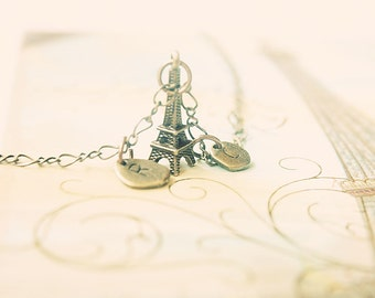 Je t'aime Love lock Eiffel Tower initials necklace