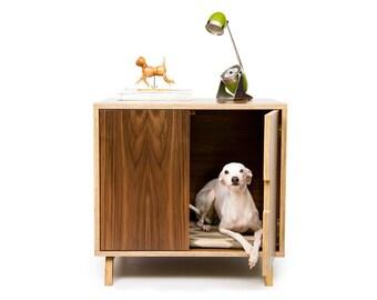 "Mid Century Modern Cat Litter Box Furniture | LARGE Cat Litter Box Cover | Dog & Cat House | Walnut Side Table | ""Standard Cabinet"""