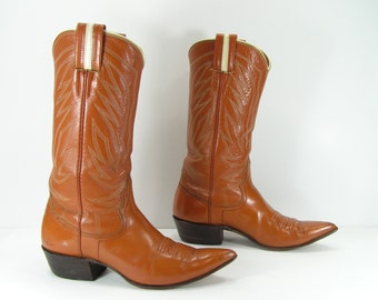 vintage cowboy boots womens 6.5 B M brown vintage nocona leather western cowgirl