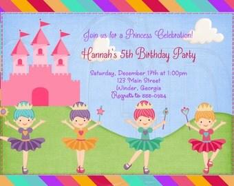 Rainbow Princess Invitation Ballerina Invitation-Digital File