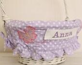 Large Easter Basket Liner -- Lavender Dot Butterfly -- Free Monogram --