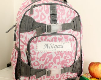 Backpack With Monogram  (Small Size) -- Pink/Gray Cheetah