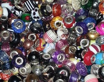 20 Beads  Mega  Mixed Large Hole  Beads fit European Jewelry -