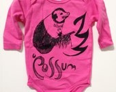 ATHENS GA POSSUM onesie for babies hot pink hand dyed long sleeved